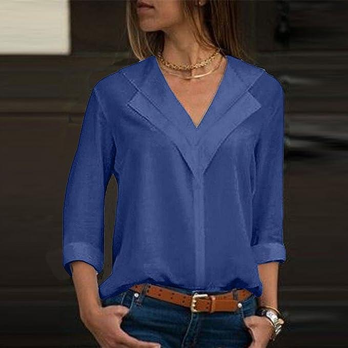 Camisas Mujer Tallas Grandes,❤ Modaworld Moda Camiseta sólida Mujer chifón Blusas de Oficina de Manga Larga Lisa de Mujer Elegantes de Vestir Fiesta ...