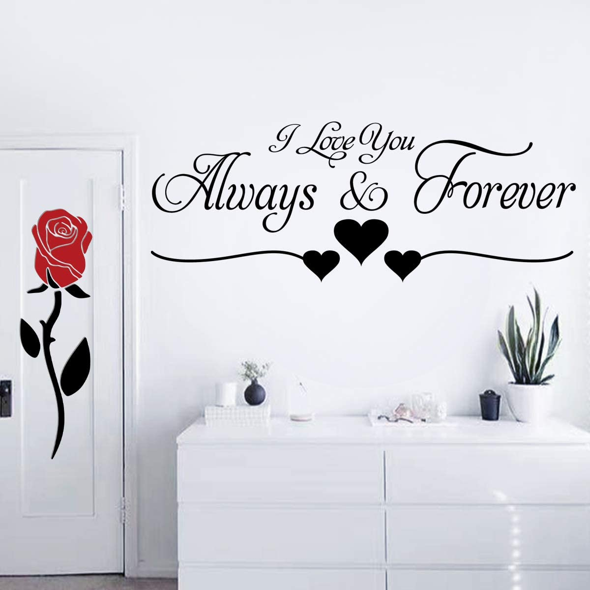 2 Pieces Vinyl Wall Sticker I Love You Always & Forever and Creative Romantic Removable Flowers Rose Wall Decal Wall Art Decor Flowers Wall Decals for Couple Bedroom Living Room Girls Room Home Decor.