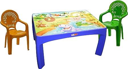 Juego de mesa de comer para niños con dibujo de animales, juego de 2 sillas: Amazon.es: Hogar