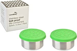 LunchBots 2.5 oz Leak Proof Dips Containers - Set of 2 (2.5 oz) - Spill Proof in Bags and Bento Boxes - Food Grade Stainless Steel with Silicone Lids - Dishwasher Safe - Green