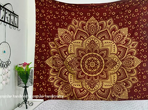 Popular Handicrafts Kp742 The Passion Gold Ombre Tapestry Indian Mandala Wall Art, Hippie Wall Hanging, Bohemian Bedspread 84x90 Inches(215x230cms) Maroon