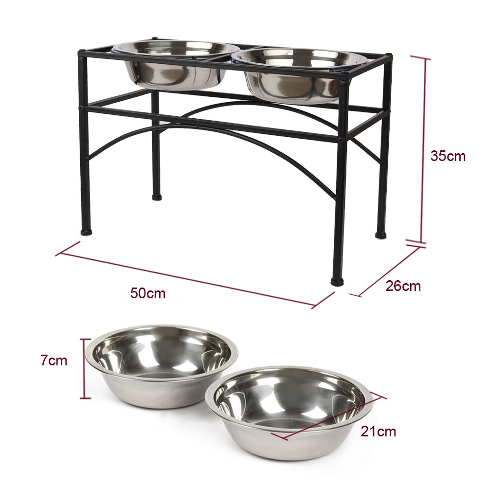 Stainless Steel Dog Bowls on Stand 2 Dog Cat Pet Food Feeding Bowl Water Bowls,Perfect for Large Dogs 2 Quarts (L-2 quarts)