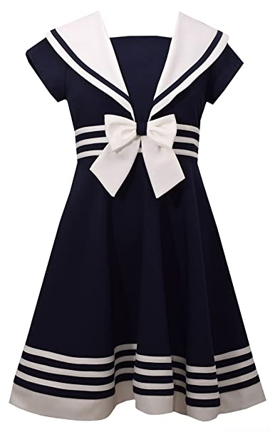 1930s Childrens Fashion: Girls, Boys, Toddler, Baby Costumes Bonnie Jean Little Girls Short Sleeve Nautical Collar Sailor Dress $29.99 AT vintagedancer.com