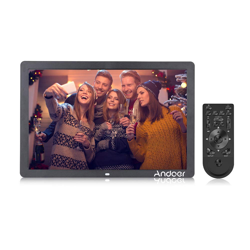 Andoer Digital Picture Photo Frame 17 Inch 1080P High-Resolution Digital Photo Advertising Machine Scroll Subtitle Electronic Calendar MP3 MP4 Functions with Remote Control