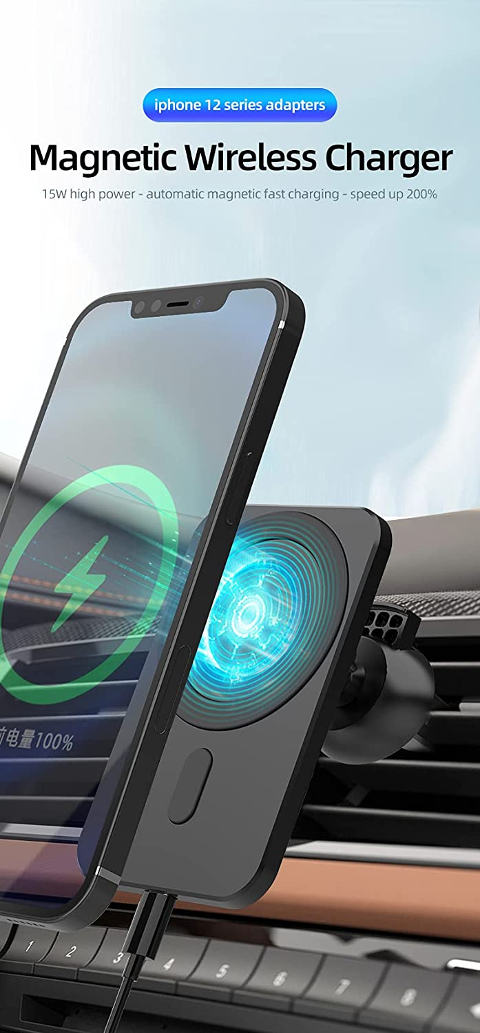 Pro Mag Safe Wireless Fast Car Charger 15W for iPhone 12 Mini Pro Max