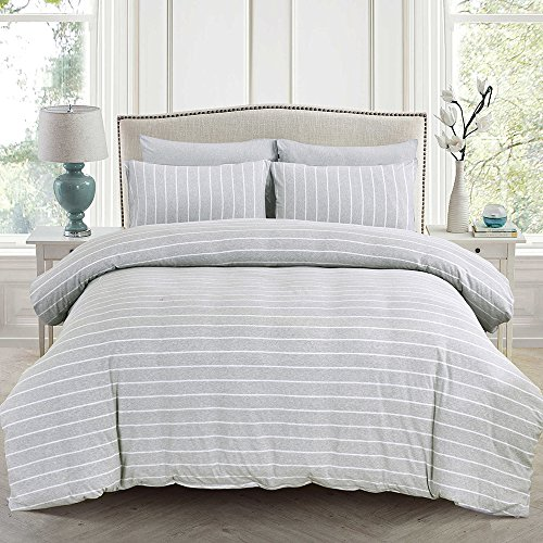 PURE ERA Jersey Knit Cotton Duvet Cover Set with Zipper Closure Super Soft Breathable Comfy Wide Strip White on Grey Queen (New Style Warmer Element)