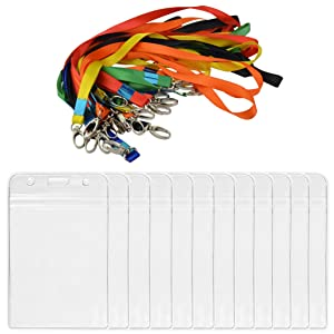 24pcs ID Badge Holders, Jmkcoz Waterproof Vertical Name Tags Card Holder With Colored Lanyard