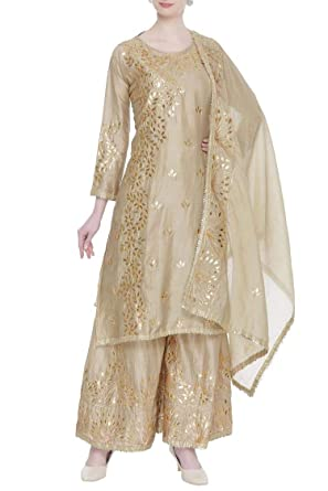 66a1e003d7 Image Unavailable. Image not available for. Color: Elegent Golden Gota  Patti Garara Handwork Salwar Kameez Indian Muslim Suit Party Dress 108