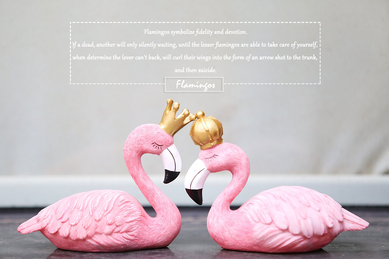 Amazon Com Unigift Pink Flamingo With Crown Resin Furnishing
