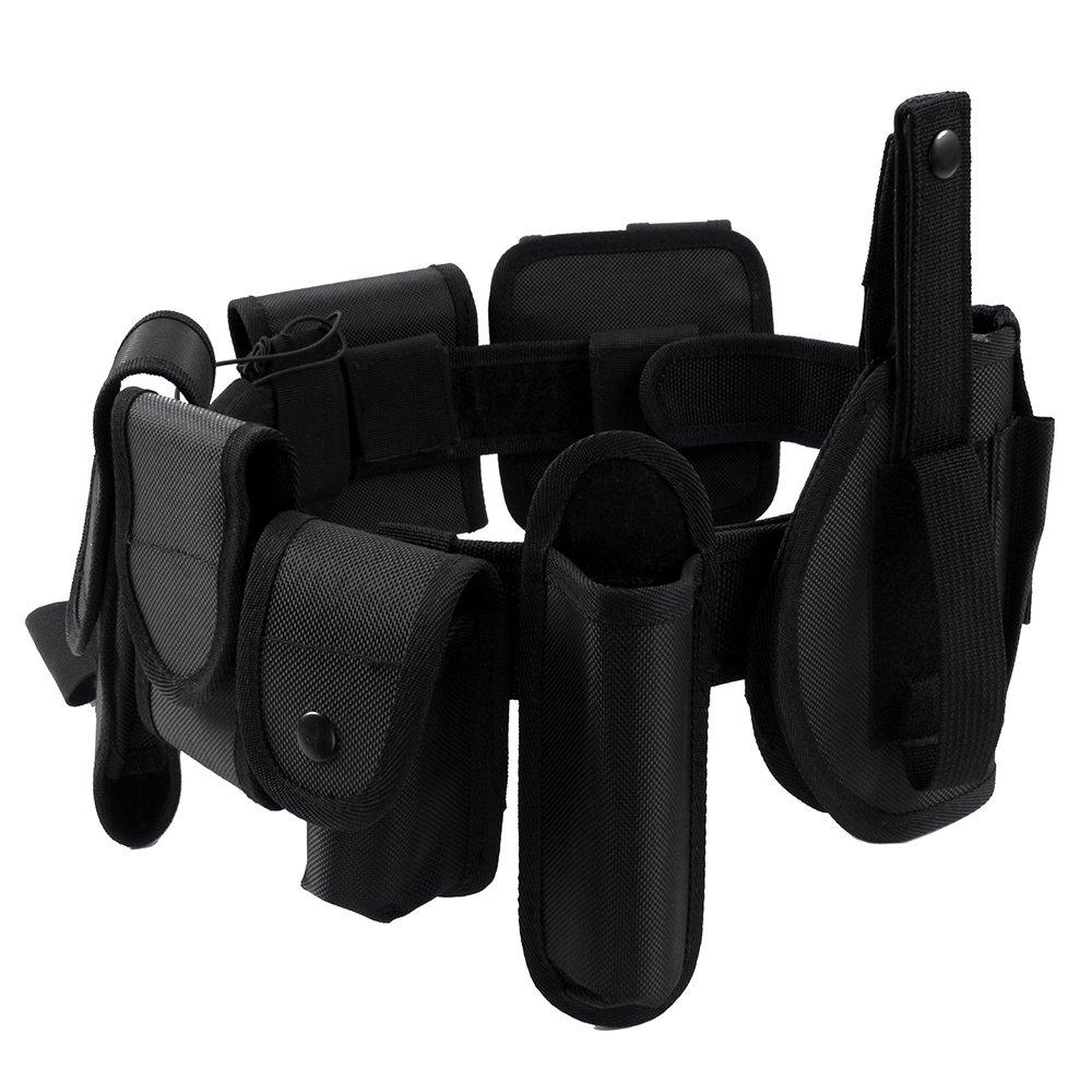 Cinturón táctico de seguridad ajustable Heavy Duty Nylon Combat Belt Cinturón de servicio militar de la policía Equipo militar (Negro)