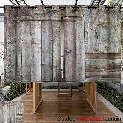 AndyTours Outdoor Window Curtains,Rustic,Old Rustic Barn Door Cottage Country Cabin Theme Rural Mystic Entrance of Home,Waterproof Patio Door Panel,K183C183 Warm Taupe Cocoa