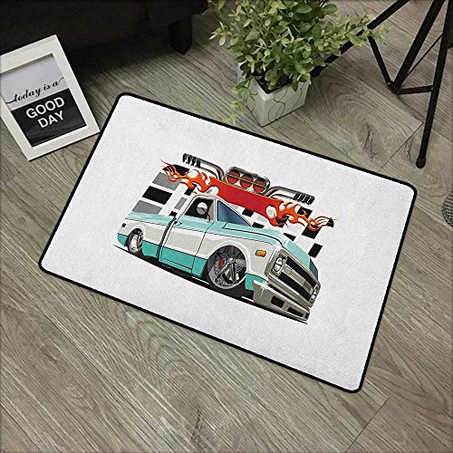 - Floor mat W35 x L59 INCH Truck,Lowrider Pickup with Racing Flag Pattern Background Speeding on The Streets Modified, Multicolor Easy to Clean, no Deformation, no Fading Non-Slip Door Mat Carpet
