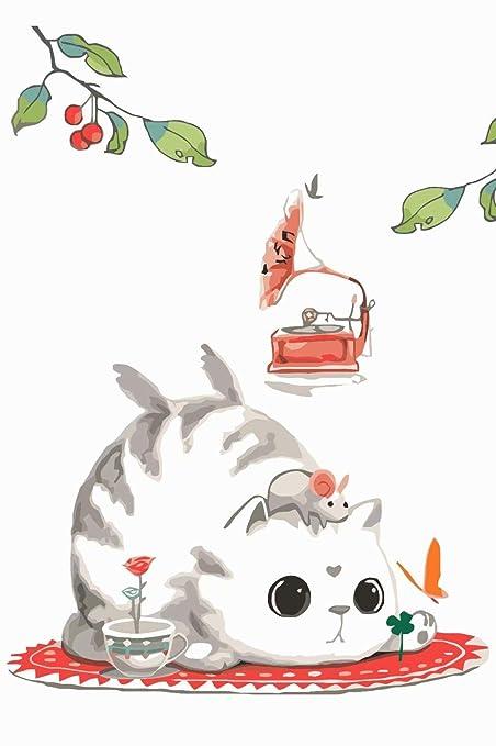 SKYTY Pintura por números Tocadiscos flor gato - DIY Pintura al ...