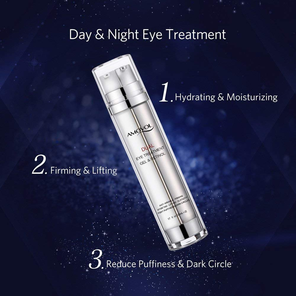 Eye Gel with Retinol for Dark Circles, Puffiness, Wrinkles and Bags, Day & Night Anti-Aging Eye Treatment Cream for Under and Around Eyes, Best Gift for Women and Men, 2 x 0.85oz by AMOVOL (Image #3)