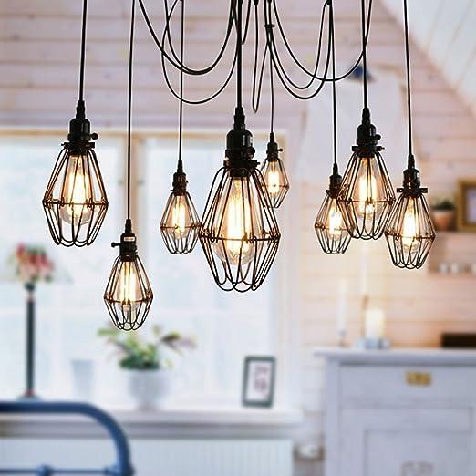 Vintage Ceiling Lamp Sun Run Hanging Lighting Edison Multiple Adjustable Diy Ceiling Spider Lamp Light Metal Wire Cage Pendant Lighting Chandelier