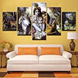Premium Quality Canvas Printed Wall Art Poster 5 Pieces / 5 Pannel Wall Decor Krishna & Radha Painting Landscape Home Decor Pictures - With Wooden Frame