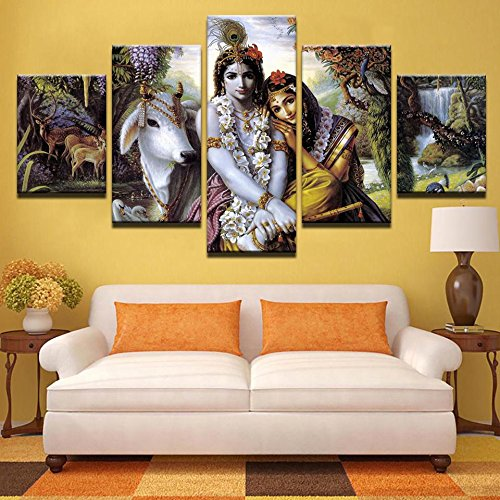 PEACOCK JEWELS [Large] Premium Quality Canvas Printed Wall Art Poster 5 Pieces / 5 Pannel Wall Decor Krishna & Radha Painting, Home Decor Pictures - Stretched