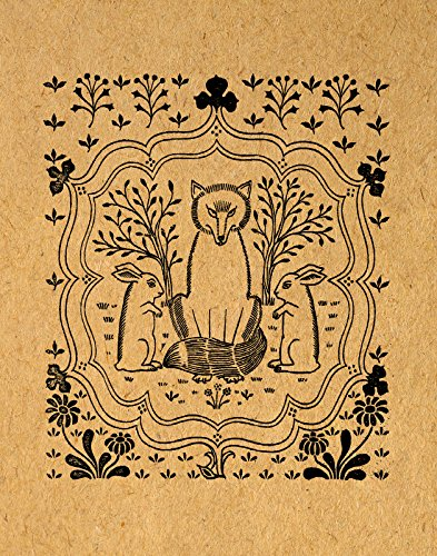 Cute Fox And Rabbits Print Vintage Animal Wall Art Illustration Adorable Poster Or Light