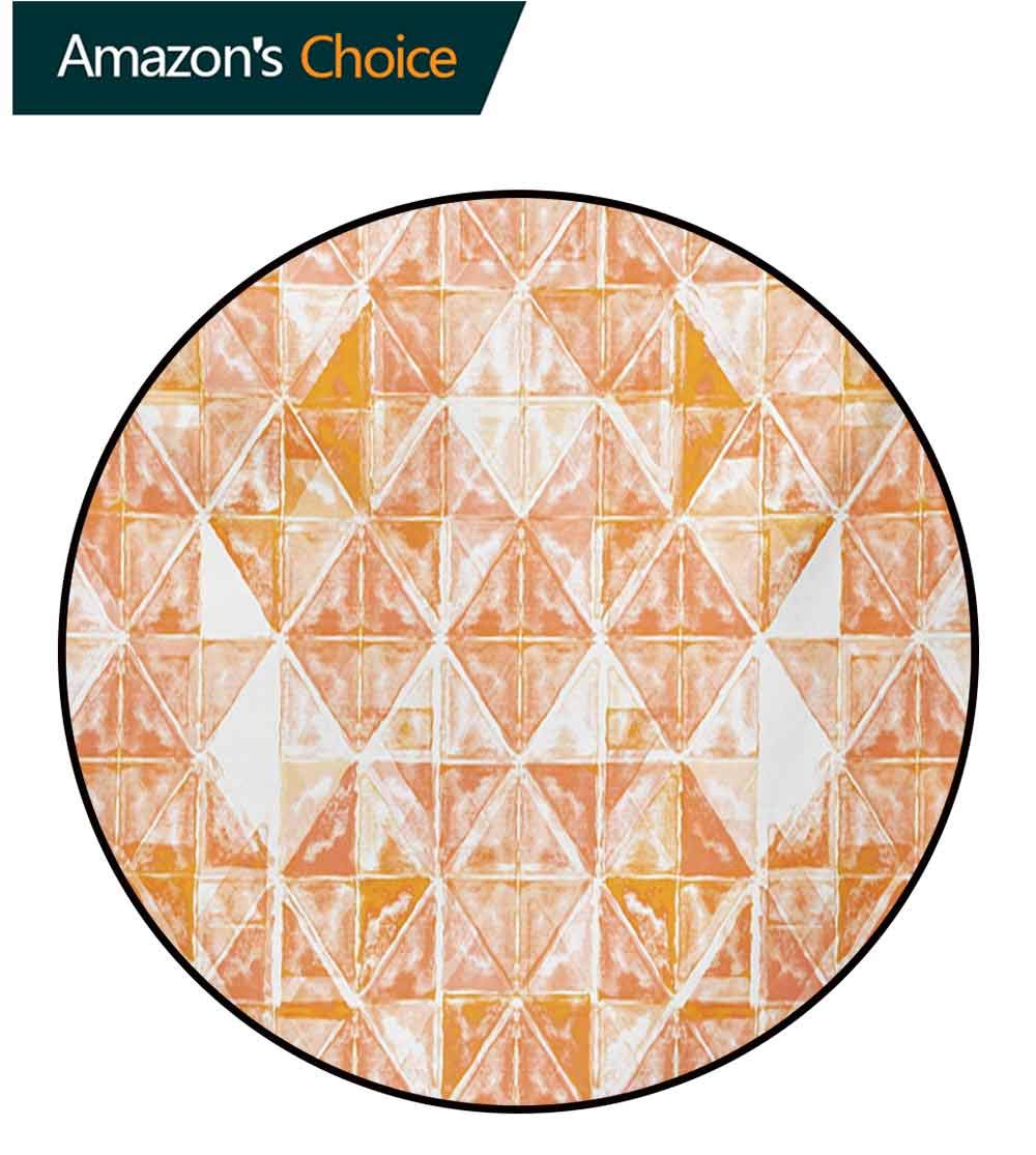 RUGSMAT Coral Small Round Rug Carpet,Raster Based Pattern with Watercolor Triangular Grid Hand Drawn Geometric Door Mat Indoors Bathroom Mats Non Slip,Round-55 Inch Coral Orange White by RUGSMAT (Image #3)