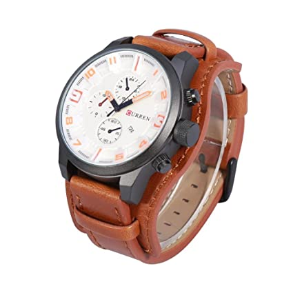 Reloj de Cuarzo Analógico para Hombres de 2 Tipos con Banda de Cuero y Estuche de