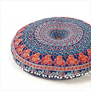 "Eyes of India 32"" Blue Bohemian Indian Round Colorful Decorative Floor Meditation Pillow boho dog bed Mandala Hippie Cushion Seating Sofa Throw Cover"