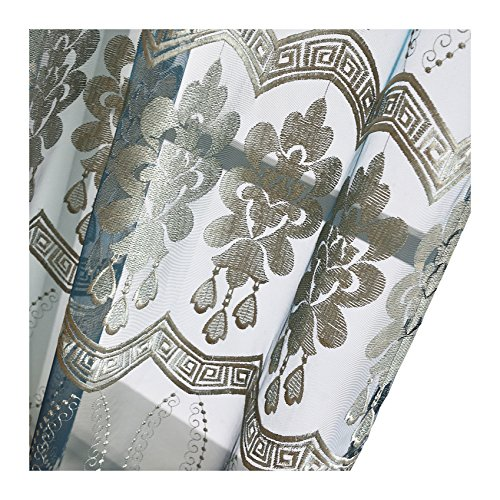 Aside Bside Luxurious Floral Wave Embroidered Rod Pockets Symmetric Artistic Pattern Sheer Curtains (1 Panel, W 52 x L 104 inch, Blue 17) -1281639521048517C1PGC by Aside Bside