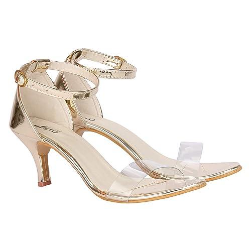 Girls Casual Pencil Heel Sandals Gold