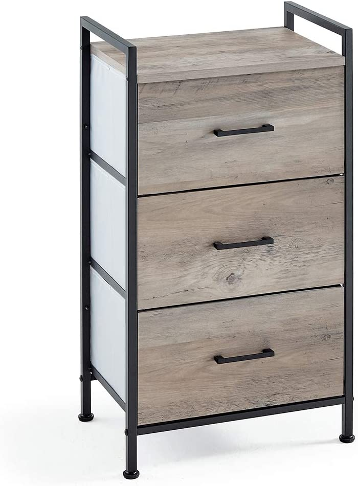 Linsy Home 3 Drawer Nightstand, Industrial Dresser Tall Storage Tower for Living Room, Bedroom, Hallway, Nursery, LS200E1-A
