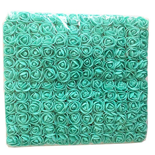 (Artfen Mini Fake Rose Flower Heads 144pcs Mini Artificial Roses DIY Wedding Flowers Accessories Make Bridal Hair Clips Headbands Dress Tiffany Blue)