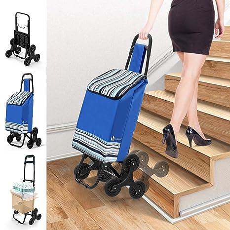 VOUNOT Carrito Compra Plegable con 6 Ruedas, Carro Compra para Subir Escaleras, Cada Lado 3 Ruedas, Impermeable, 35L, Azul