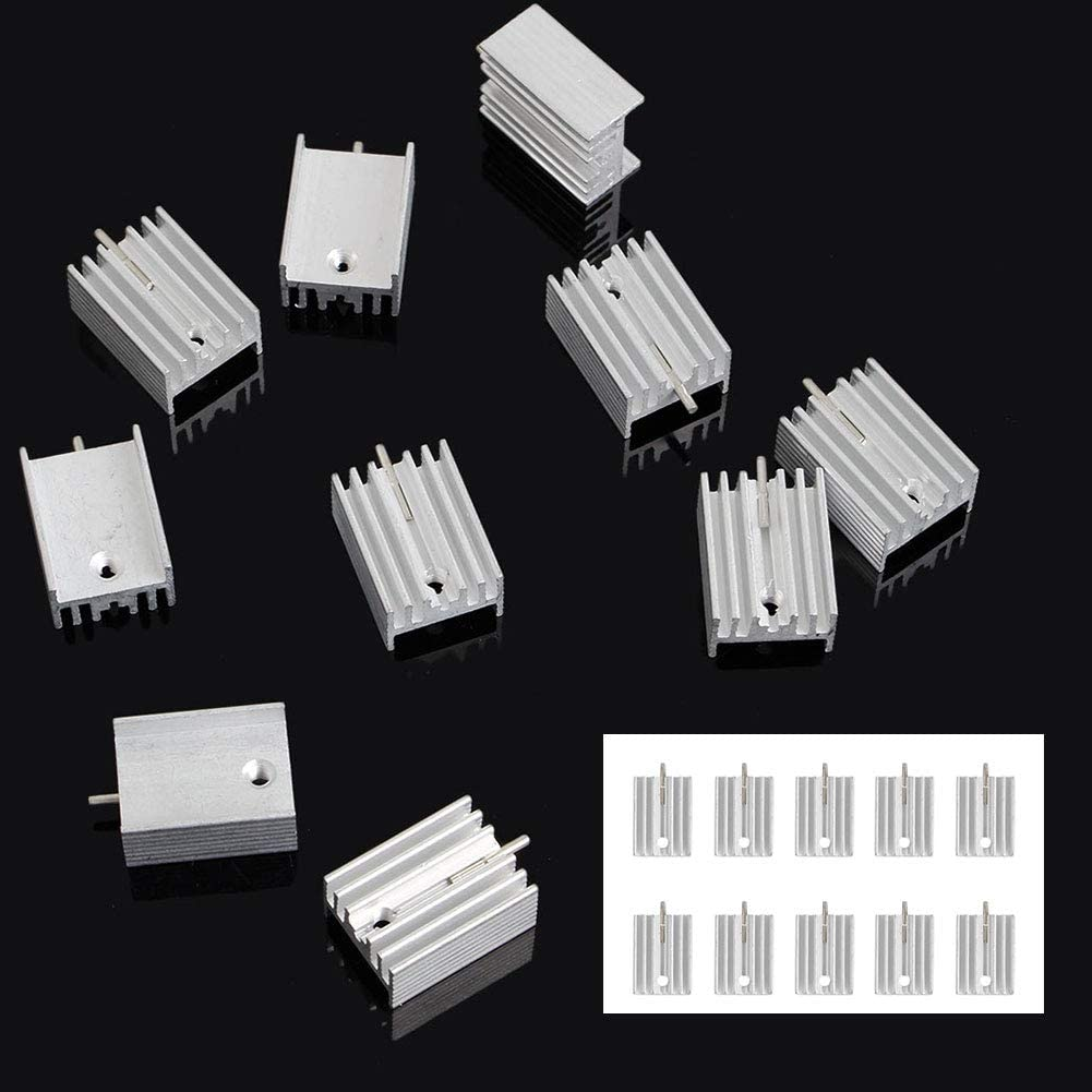 MANGKE 10Pcs TO-220 21MM Heatsink Cooler Cooling Aluminum Heatsink Transistor Radiator