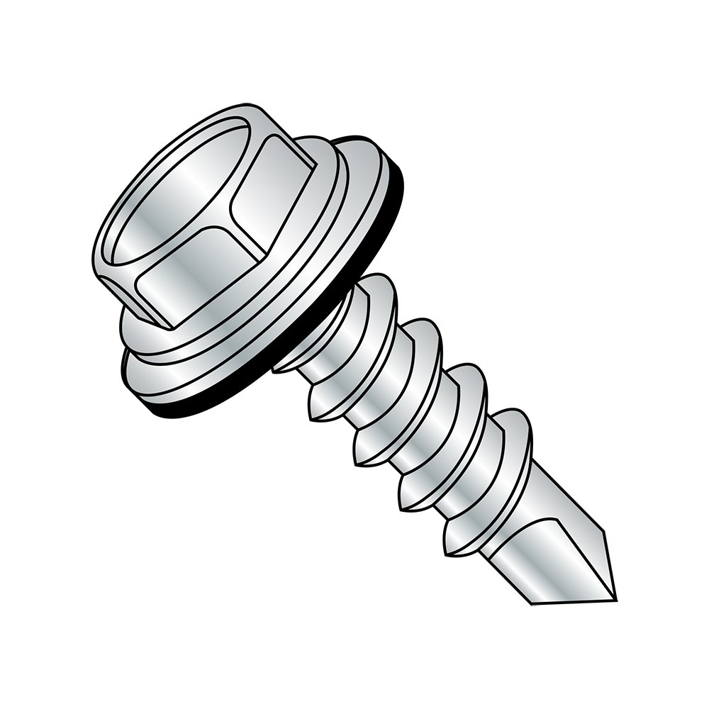 Steel Self-Drilling Screw, Zinc Plated Finish, Sealing Hex Washer Head With EPDM Washer, Hex Drive, #2 Drill Point, #8-18 Thread Size, 1/2'' Length (Pack of 100)