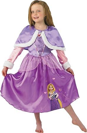 Princesas Disney - Disfraz de Rapunzel Winter, para niños, talla S ...