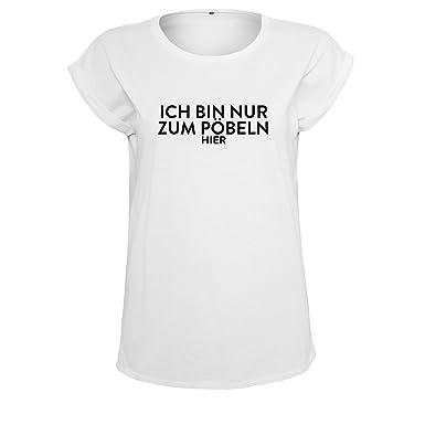 39d07af34349 OwnDesigner Damen Shirt Oversize -Ich Bin Nur Zum Pöbeln Hier- Besonders  Modischer Premium T-Shirt - Verschiedene Modelle und Farben  Amazon.de   Bekleidung
