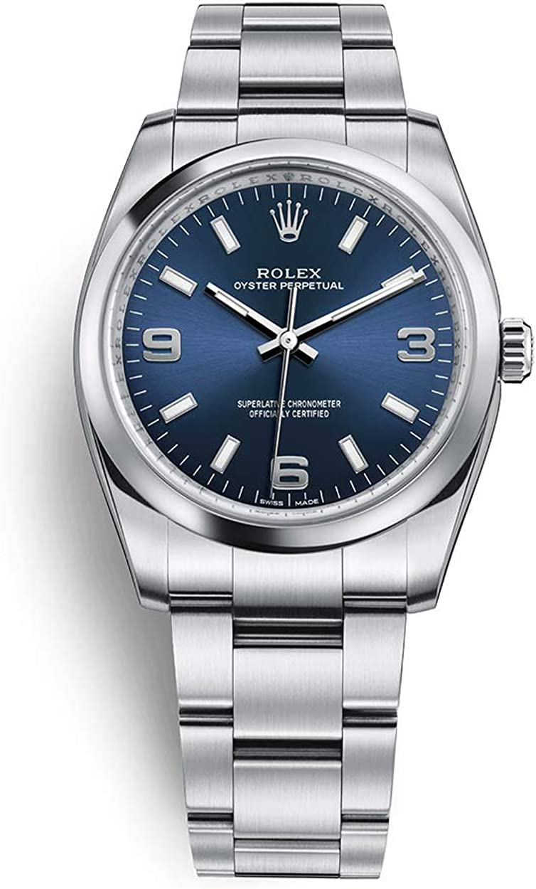 Amazon.com: Rolex Oyster Perpetual 34 Stainless Steel / Oyster Bracelet /  Blue Dial: Watches