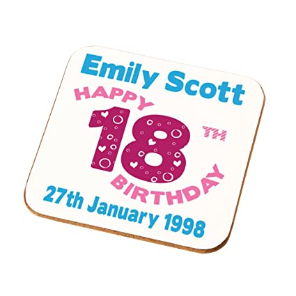 Personalised 18th Birthday Gift For Girls Daughters Sisters Nieces Granddaughters Coaster Add