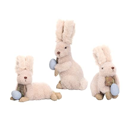 GALLERIE II Fluffy Spring Spring Easter Bunny Rabbit Tabletop Figures Figurines with Spring Easter Eggs Decor Decoration A 3 Fluffy Bunny Fig Sm A 3