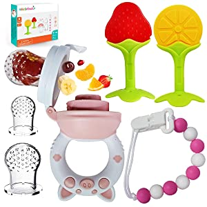 Baby Fruit Pacifier Feeder (Mesh Silicone Pacifier ) Piggy Handle ,Fruit Teethers for Babies,6 Pcs Set,Put Ice, Frozen/Cooled Fruits or Frozen Breastmilk in the Baby Food Feeder