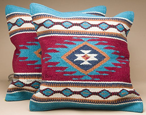 (Southwestern Wool Throw Pillow Covers 18x18 - (PAIR) 2 Hand Woven Western Pattern for Native American Style and Rustic Cabin Decor (Zia))