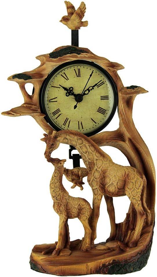 EVERSPRING Giraffe Family On Safari Carved Wood Look Clock Figurine