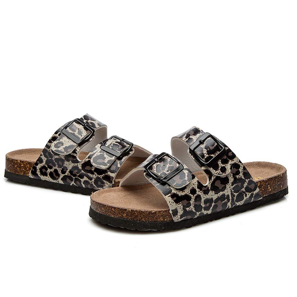 Leopard Slippers Beach Shoes Anti-Slip Toe Post Sandals KCPer Womens Light Weight Cork Platform Double Buckles Slide Sandal