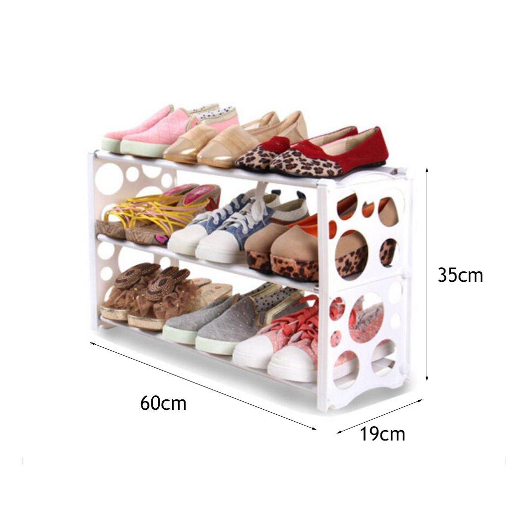 3 Tier Schuh Rack Free Combination Organizer Regale Kunststoff Regal Storage Schuh Schrank (Round Hole) Weiß