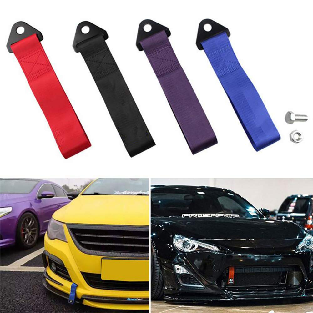 Sports Racing Style Tow Strap Tow Hook Universal Fit for Front or Rear Bumper