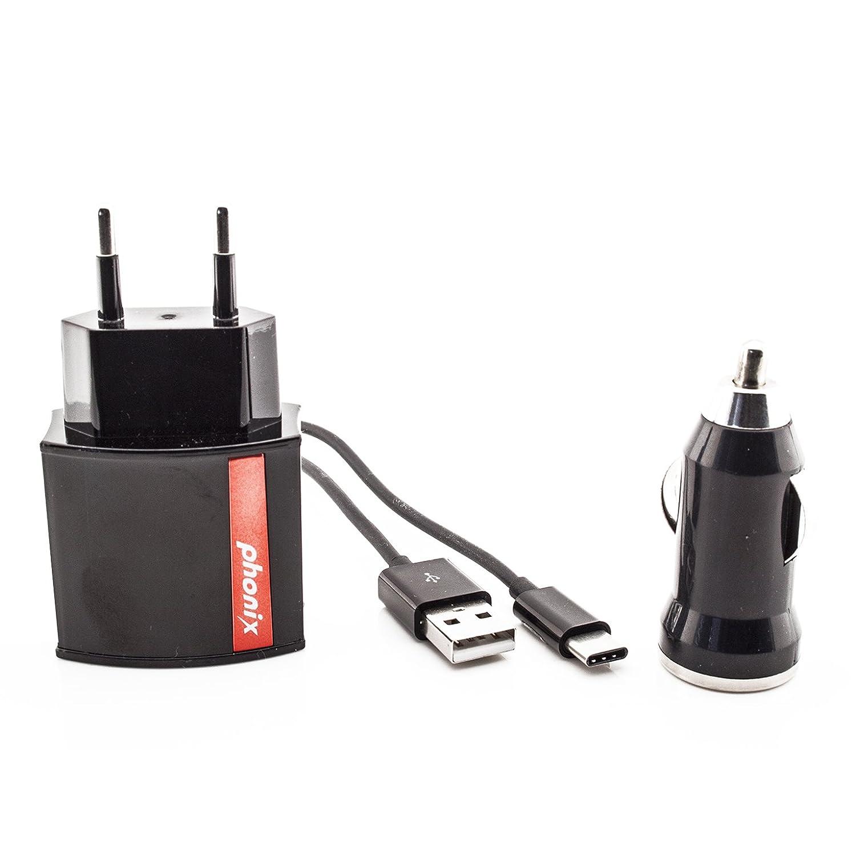 Phonix APPL2KIT 3-in-1 Caricabatteria da Auto, Rete e USB, 2 Ah, Connettore Apple Lightning, Bianco 220 accendi accendisigari batterie