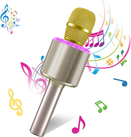Simple Solid Color Mini Microphone Home KTV Party Phone Wireless Bluetooth Microphone Compatible with Android /& iOS