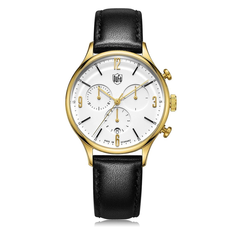 Dufa Deutsche Uhrenfabrik Unisex-Armbanduhr Analog Quarz Leder Van Der Rohe Chrono DF-9002-04