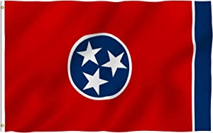 Anley Fly Breeze 3x5 Foot Tennessee State Polyester Flag - Vivid Color and Fade Proof - Canvas Header and Double Stitched - Tennessee TN Flags with Brass Grommets 3 X 5 Ft