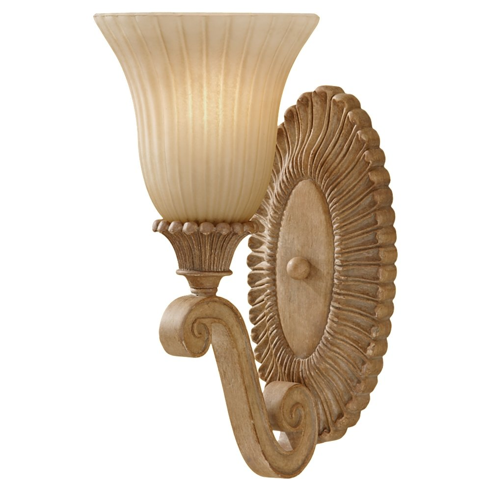 Murray Feiss VS18801-MAW Blaire One Light Wall Sconce with India Scavo Glass Shade, Medium Aged Wood