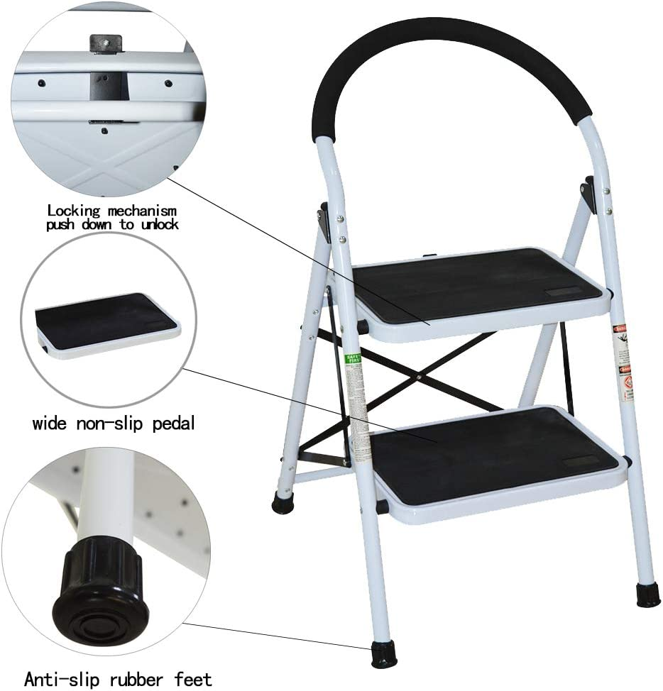 2 Step Ladder CQXING Portable Lightweight Folding 2 Steel Step Ladder with Wide Anti-Slip Platform Sturdy HD Construction 330lbs Capacity