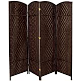 RHF 6 ft. Tall Diamond Weave Fiber Room Divider - Dark Mocha - 4 Panel